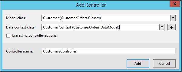 Machine generated alternative text: Model class:  Add Controller  Customer (CustomerOrders.CIasses)  Data class: CustomerContext (CustomerOrders.DataModeI)l  Use async controller actions  Controller name:  CustomersControIIer  Cancel