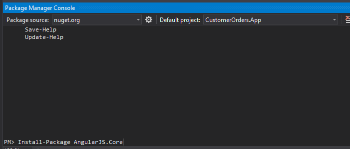 Machine generated alternative text: Package Manager Console  Package source: nuget.org  Save- Help  Update- Help  PFD Install-package AngularJS.Corel  Default project: CustomerOrders.App
