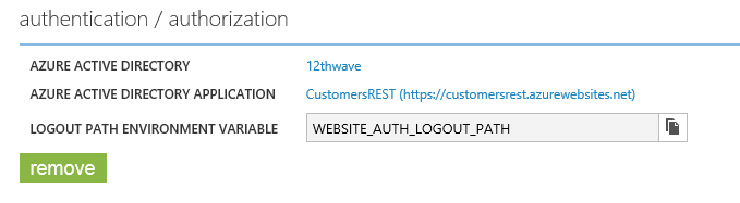 Machine generated alternative text: authent•cation / author•zation  AZURE ACTIVE DIRECTORY  AZURE ACTIVE DIRECTORY APPLICATION  LOGOUT PATH ENVIRONMENT VARIABLE  remove  12thwave  CustomersREST (https://customersrestazurewebsites.net)  WEBSITE AUTH LOGOUT PATH